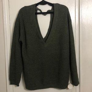 Sweaters - Green Low Cut Sweater